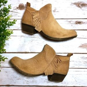 Lucky Brand Suede Fringe Ankle Boots Booties Tan